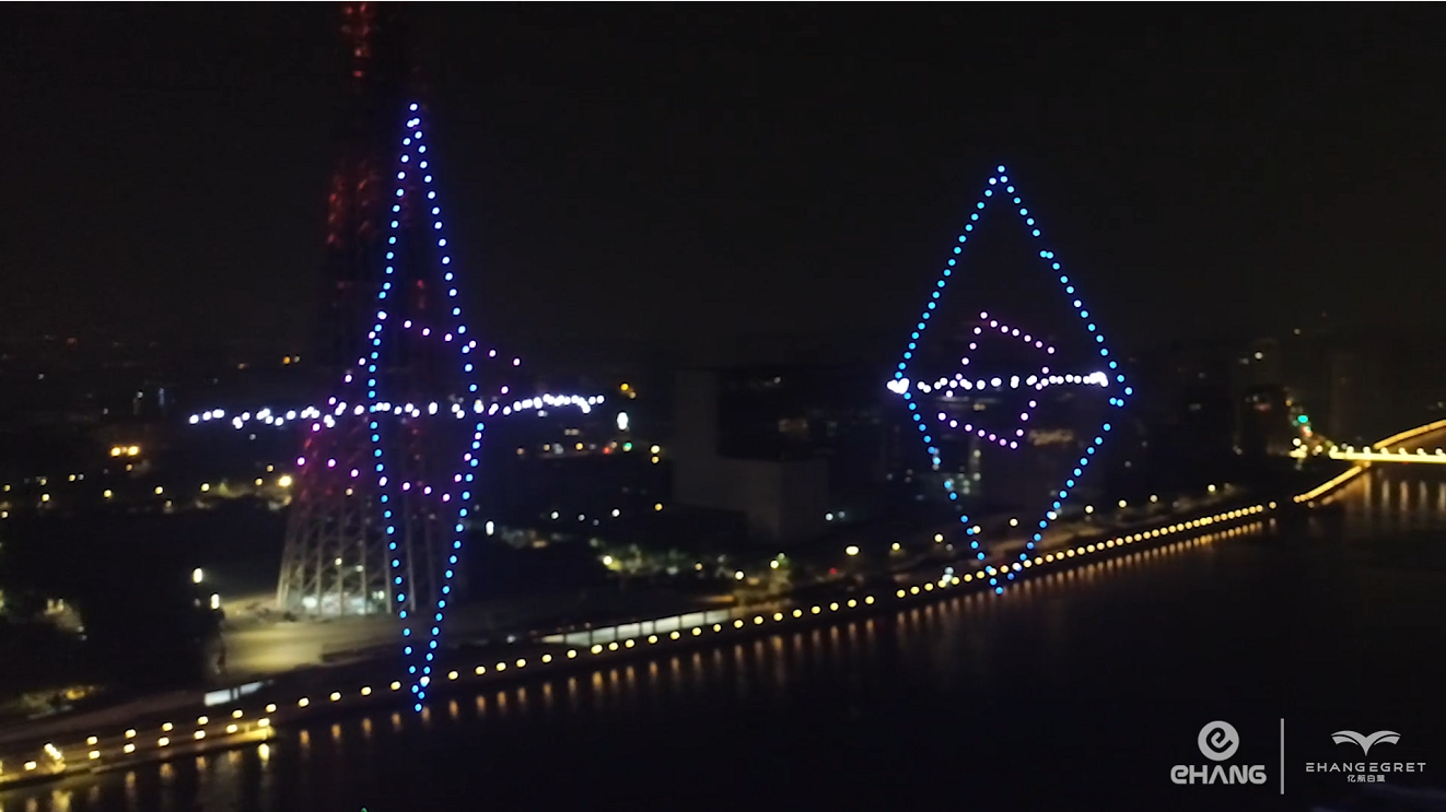 300 EHang Egret Drones Celebrating Guangzhou International Light Festival
