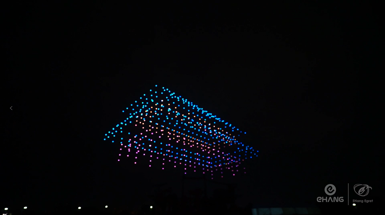 "EHang Egret Drone Light Show Celebrating ""Poetry in Chang'an"" Event in Daming Palace"