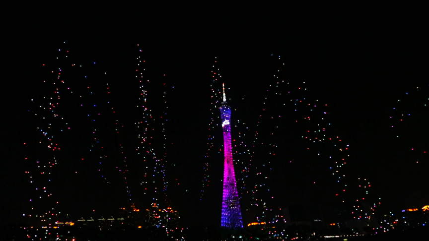 1000 EHang UAVs flying towards the night sky of the Canton Tower like fireworks
