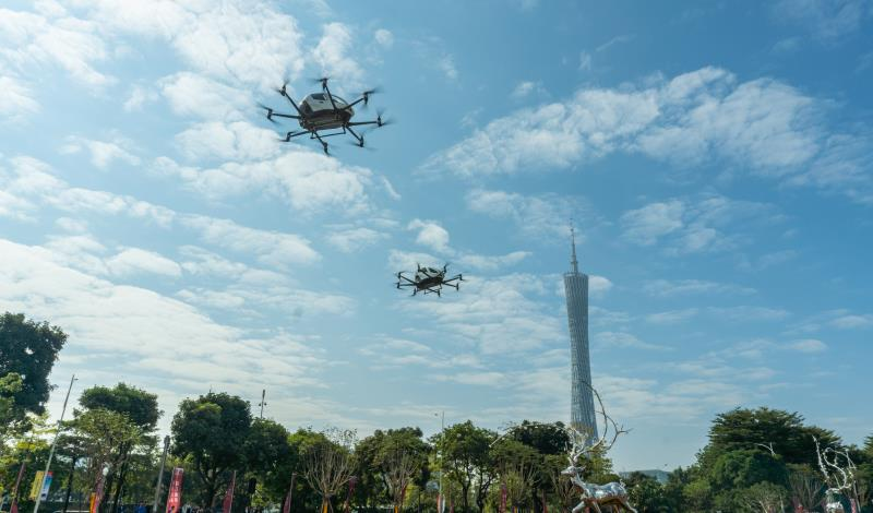 two EHang 216 AAVs completed simultaneous trial flights of their commercial sightseeing applications in Guangzhou