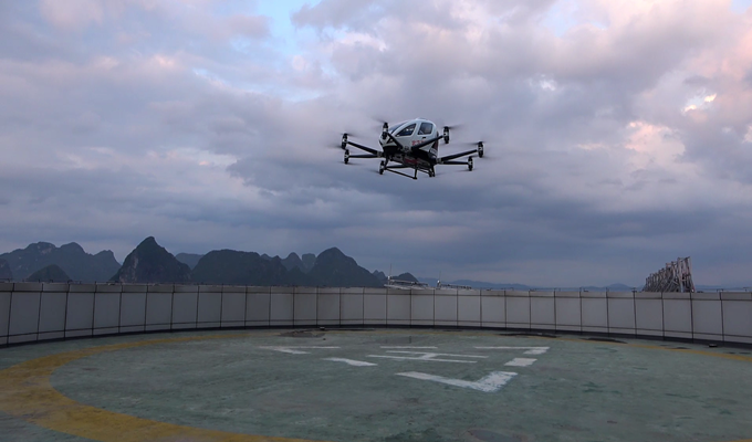 EHang 216 landing on the rooftop of a 25-story hospital in Hezhou