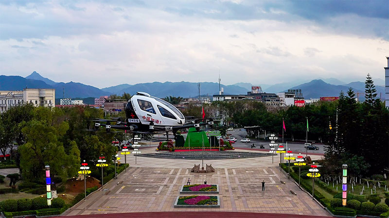 EHang 216 taking off with medical emergency supplies from Hezhou Square
